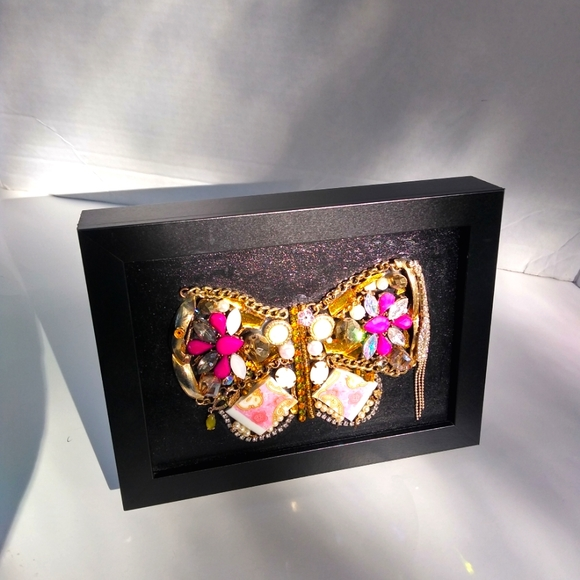 Gold jewelry butterfly upcycled vintage home decor